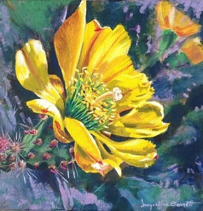 Cactus Yellow Flower, a painting of a flower