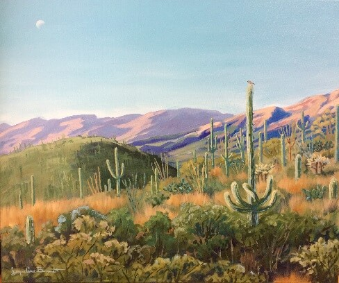 Midday Moon, a painting of a desert landscape