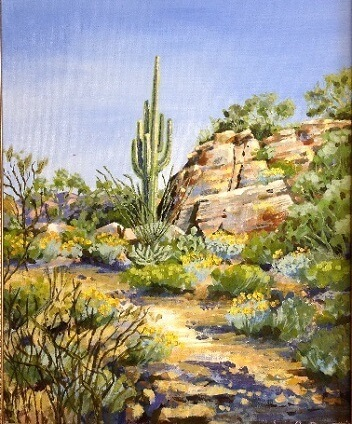 Spring Hike, a painting of a landscape