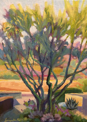 Afternoon Delight, an oil painting of a shrub