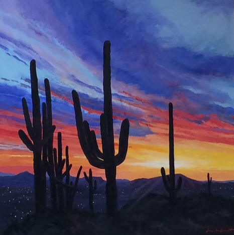 Alvernon Sunset, a painting of the desert at sunset