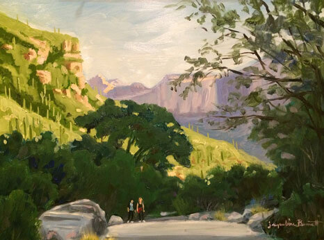 Early Morning Hike, an oil painting of a landscape