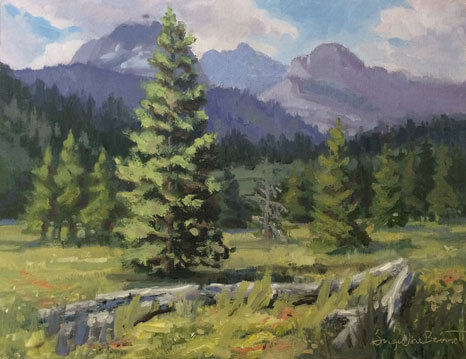 Standing Proud, an oil painting of trees in a landscape
