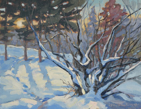 Sunnyside Street, an oil painting of a landscape in winter